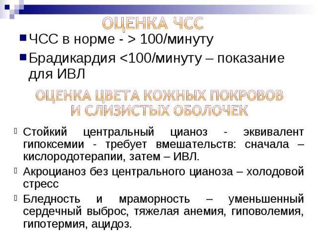 ЧСС в норме - > 100/минуту ЧСС в норме - > 100/минуту Брадикардия <100/минуту – показание для ИВЛ