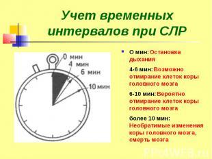 Учет временных интервалов при СЛР О мин: Остановка дыхания 4-6 мин: Возможно отм