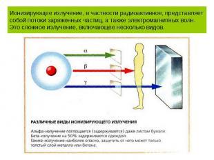 Ионизирующее излучение, в частности радиоактивное, представляет собой потоки зар