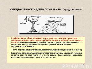 Шлейф облака - объем воздушного пространства, в котором происходит осаждение рад