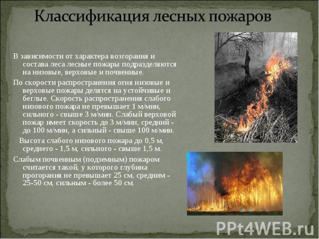 В зависимости от характера возгорания и состава леса лесные пожары подразделяются на низовые, верховые и почвенные. В зависимости от характера возгорания и состава леса лесные пожары подразделяются на низовые, верховые и почвенные. По скорости распр…