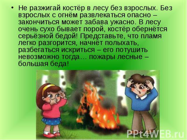 Не разжигай костёр в лесу без взрослых. Без взрослых с огнём развлекаться опасно – закончиться может забава ужасно. В лесу очень сухо бывает порой, костёр обернётся серьёзной бедой! Представьте, что пламя легко разгорится, начнёт полыхать, разбегать…