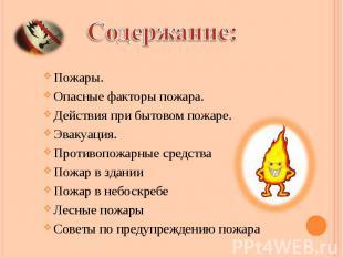 Пожары. Пожары. Опасные факторы пожара. Действия при бытовом пожаре. Эвакуация.