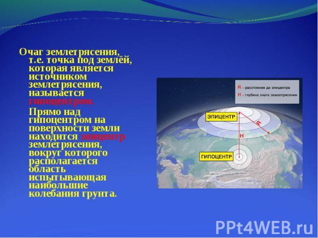 Очаг землетрясения, т.е. точка под землёй, которая является источником землетрясения, называется гипоцентром. Очаг землетрясения, т.е. точка под землёй, которая является источником землетрясения, называется гипоцентром. Прямо над гипоцентром на пове…