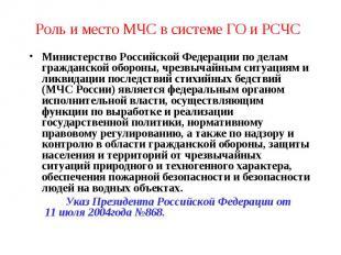 Роль и место МЧС в системе ГО и РСЧС Министерство Российской Федерации по делам