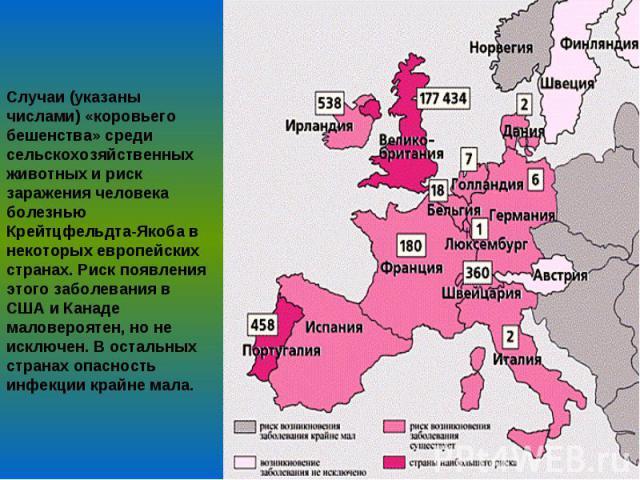 Случаи (указаны числами) «коровьего бешенства» среди сельскохозяйственных животных и риск заражения человека болезнью Крейтцфельдта-Якоба в некоторых европейских странах. Риск появления этого заболевания в США и Канаде маловероятен, но не исключен. …