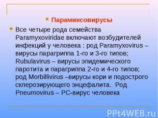 Парамиксовирусы Все четыре рода семейства Paramyxoviridae включают возбудителей