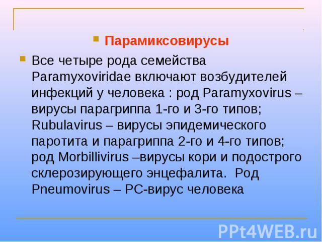 Парамиксовирусы Все четыре рода семейства Paramyxoviridae включают возбудителей инфекций у человека : род Paramyxovirus – вирусы парагриппа 1-го и 3-го типов; Rubulavirus – вирусы эпидемического паротита и парагриппа 2-го и 4-го типов; род Morbilliv…