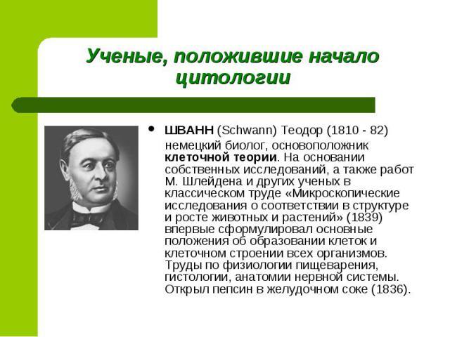 ШВАНН (Schwann) Теодор (1810 - 82) ШВАНН (Schwann) Теодор (1810 - 82) немецкий биолог, основоположник клеточной теории. На основании собственных исследований, а также работ М. Шлейдена и других ученых в классическом труде «Микроскопические исследова…