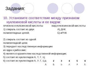 10. Установите соответствие между признаком нуклеиновой кислоты и ее видом: 10.