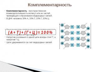 Комплементарность Комплементарность - пространственная взаимодополняемость молек