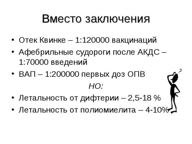 Отек Квинке – 1:120000 вакцинаций Отек Квинке – 1:120000 вакцинаций Афебрильные судороги после АКДС – 1:70000 введений ВАП – 1:200000 первых доз ОПВ НО: Летальность от дифтерии – 2,5-18 % Летальность от полиомиелита – 4-10%