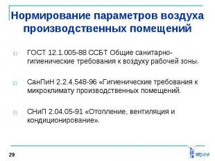 ГОСТ 12.1.005-88 ССБТ Общие санитарно-гигиенические требования к воздуху рабочей