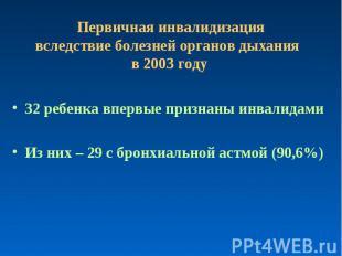 Первичная инвалидизация вследствие болезней органов дыхания в 2003 году 32 ребен