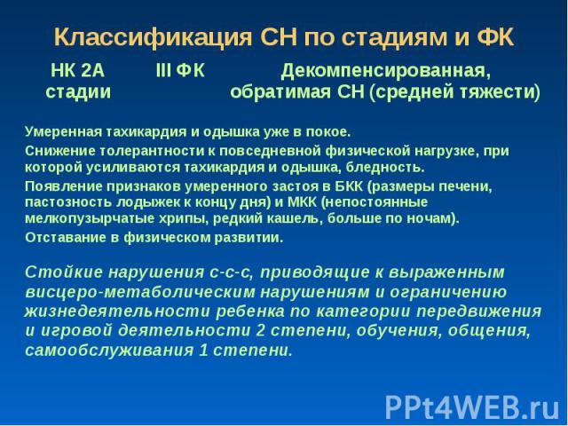Классификация СН по стадиям и ФК