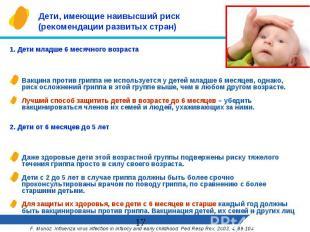 Дети, имеющие наивысший риск (рекомендации развитых стран) 1. Дети младше 6 меся