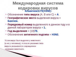 Международная система кодировки вирусов А/Бангкок/1/79(H3N2): Обозначение типа в