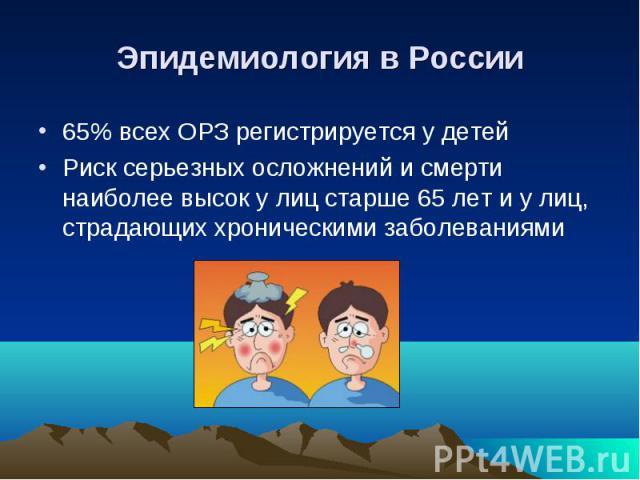 Эпидемиология в России 65% всех ОРЗ регистрируется у детей Риск серьезных осложнений и смерти наиболее высок у лиц старше 65 лет и у лиц, страдающих хроническими заболеваниями