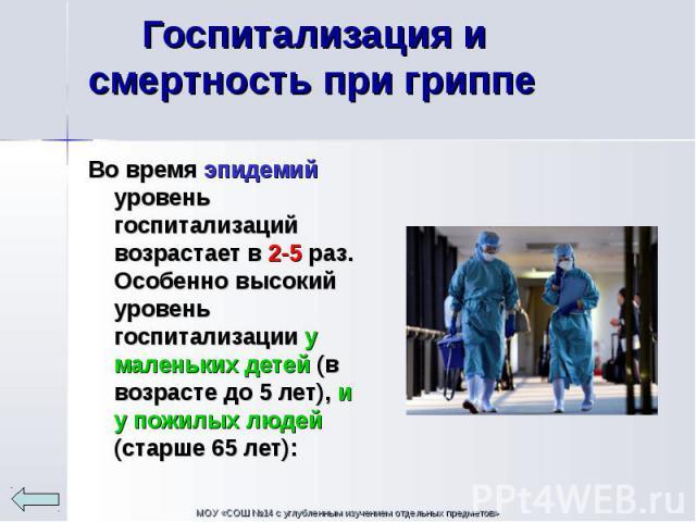 Во время эпидемий уровень госпитализаций возрастает в 2-5 раз. Особенно высокий уровень госпитализации у маленьких детей (в возрасте до 5 лет), и у пожилых людей (старше 65 лет): Во время эпидемий уровень госпитализаций возрастает в 2-5 раз. Особенн…