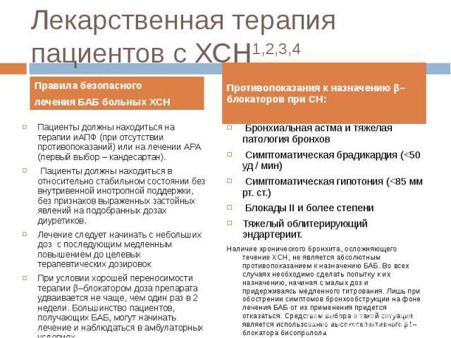 Правила безопасного Правила безопасного лечения БАБ больных ХСН