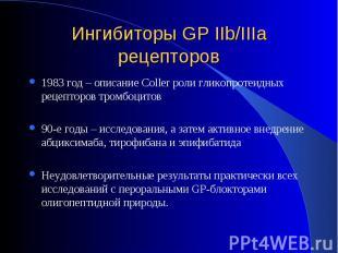 1983 год – описание Coller роли гликопротеидных рецепторов тромбоцитов 1983 год