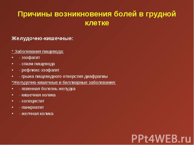 Желудочно-кишечные: Желудочно-кишечные:  * Заболевания пищевода: - эзофагит - спазм пищевода - рефлюкс-эзофагит - грыжа пищеводного отверстия диафрагмы *Желудочно-кишечные и биллиарные заболевания: - язвенная болезнь желудка - кишечная колика …