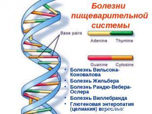 Болезни пищеварительной системы Болезнь Вильсона-Коновалова Болезнь Жильбера Бол