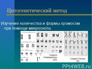 Цитогенетический метод Изучение количества и формы хромосом при помощи микроскоп