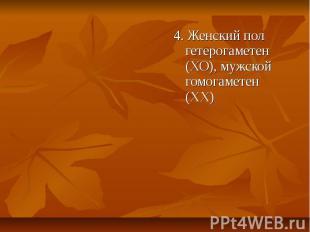 4. Женский пол гетерогаметен (ХО), мужской гомогаметен (ХХ) 4. Женский пол гетер