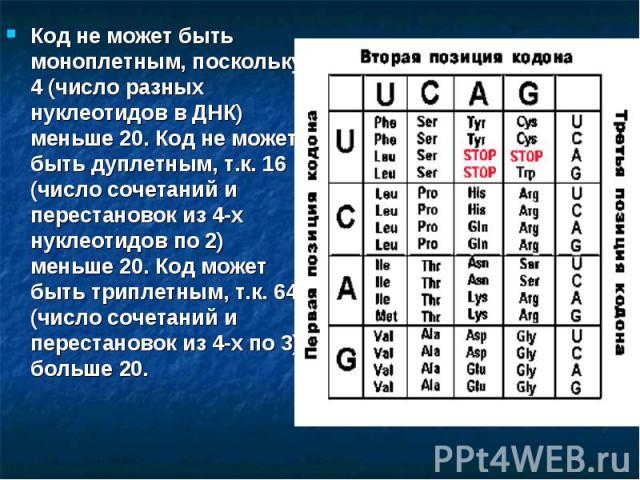 Код не может быть моноплетным, поскольку 4 (число разных нуклеотидов в ДНК) меньше 20. Код не может быть дуплетным, т.к. 16 (число сочетаний и перестановок из 4-х нуклеотидов по 2) меньше 20. Код может быть триплетным, т.к. 64 (число сочетаний и пер…