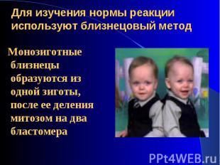 Монозиготные близнецы образуются из одной зиготы, после ее деления митозом на дв