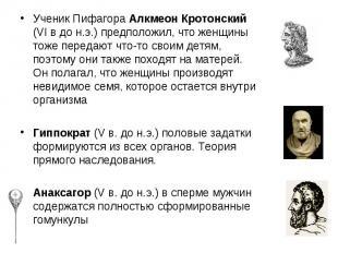 Ученик Пифагора Алкмеон Кротонский (VI в до н.э.) предположил, что женщины тоже
