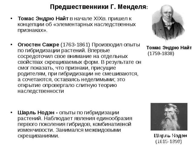 Томас Эндрю Найт в начале XIXв. пришел к концепции об «элементарных наследственных признаках». Томас Эндрю Найт в начале XIXв. пришел к концепции об «элементарных наследственных признаках». Огюстен Сажре (1763-1861) Производил опыты по гибридизации …