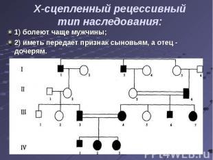 1) болеют чаще мужчины; 1) болеют чаще мужчины; 2) иметь передает признак сыновь