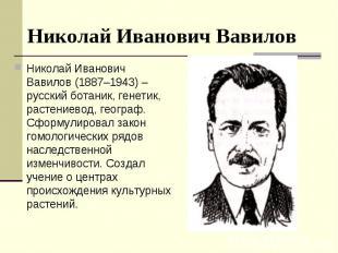 Николай Иванович Вавилов (1887–1943) – русский ботаник, генетик, растениевод, ге
