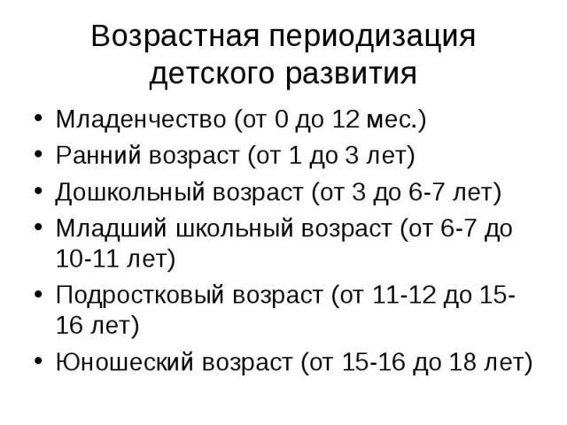 Возрастная периодизация детского развития Младенчество (от 0 до 12 мес.) Ранний возраст (от 1 до 3 лет) Дошкольный возраст (от 3 до 6-7 лет) Младший школьный возраст (от 6-7 до 10-11 лет) Подростковый возраст (от 11-12 до 15-16 лет) Юношеский возрас…