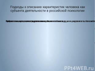 Подходы к описанию характеристик человека как субъекта деятельности в российской