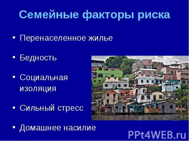 Перенаселенное жилье Перенаселенное жилье Бедность Социальная изоляция Сильный стресс Домашнее насилие