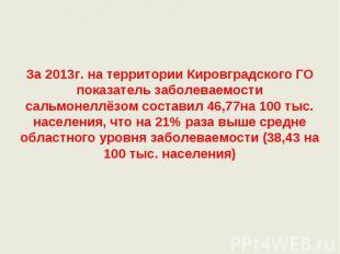 За 2013г. на территории Кировградского ГО показатель заболеваемости сальмонеллёз