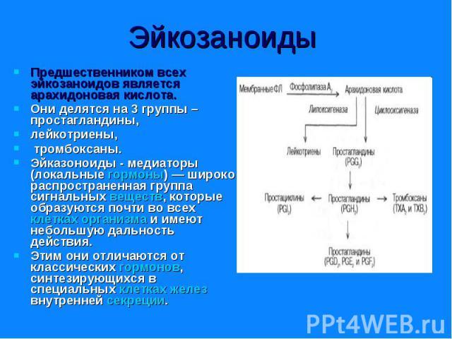 Предшественником всех эйкозаноидов является арахидоновая кислота. Предшественником всех эйкозаноидов является арахидоновая кислота. Они делятся на 3 группы – простагландины, лейкотриены, тромбоксаны. Эйказоноиды - медиаторы (локальные гормоны) — шир…