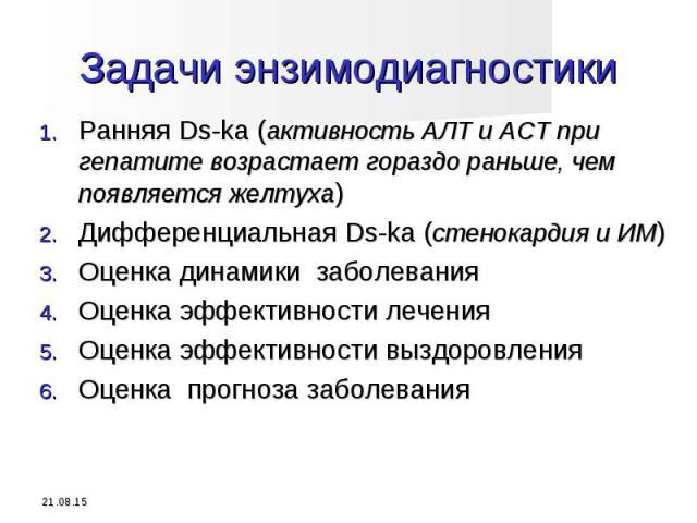 Ранняя Ds-ka (активность АЛТ и АСТ при гепатите возрастает гораздо раньше, чем появляется желтуха) Ранняя Ds-ka (активность АЛТ и АСТ при гепатите возрастает гораздо раньше, чем появляется желтуха) Дифференциальная Ds-ka (стенокардия и ИМ) Оценка ди…