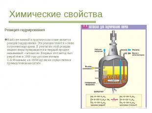 Химические свойства Реакция гидрирования Наиболее важной в практическом плане яв