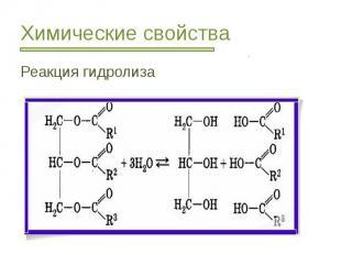 Химические свойства Реакция гидролиза