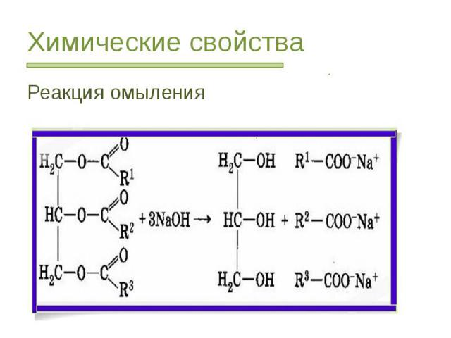 Химические свойства Реакция омыления