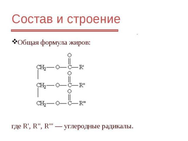 """Состав и строение Общая формула жиров: гдеR', R"""", R""""' —углеродные радикалы."""