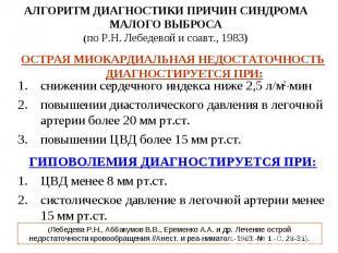 АЛГОРИТМ ДИАГНОСТИКИ ПРИЧИН СИНДРОМА МАЛОГО ВЫБРОСА (по Р.Н. Лебедевой и соавт.,