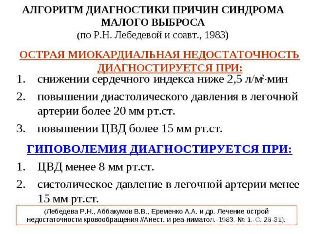 АЛГОРИТМ ДИАГНОСТИКИ ПРИЧИН СИНДРОМА МАЛОГО ВЫБРОСА (по Р.Н. Лебедевой и соавт., 1983) ОСТРАЯ МИОКАРДИАЛЬНАЯ НЕДОСТАТОЧНОСТЬ ДИАГНОСТИРУЕТСЯ ПРИ: снижении сердечного индекса ниже 2,5 л/м2 мин повышении диастолического давления в легочной артерии бол…