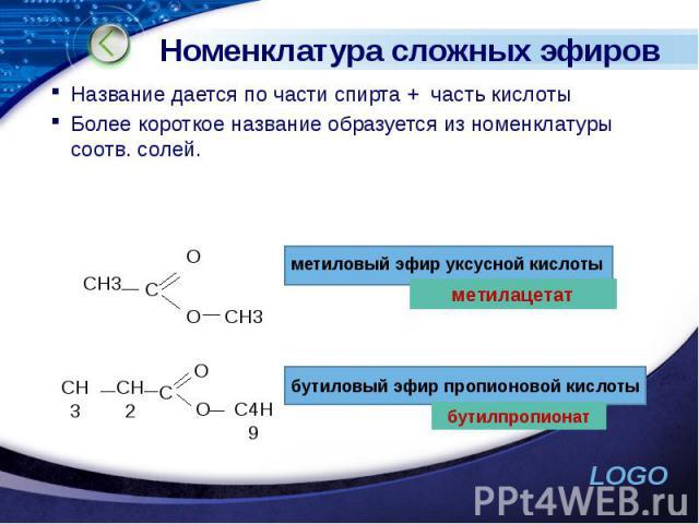 Номенклатура сложных эфиров Название дается по части спирта + часть кислоты Более короткое название образуется из номенклатуры соотв. солей.