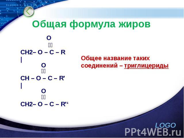 Общая формула жиров  O  ׀׀ CH2– O – C – R |  O ׀׀ CH – O – C – R' |  O  ׀׀ CH2– O – C – R''