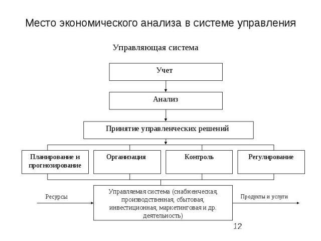 Место экономического анализа в системе управления